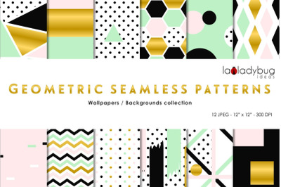Golden, black, mint and blush seamless patterns. Digital papers.