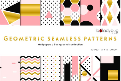 Golden, black, mint and peach seamless patterns. Digital papers.