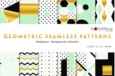 Golden, black, mint green seamless patterns. Digital papers.