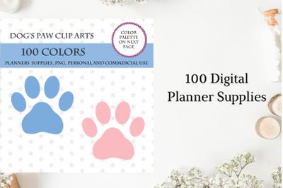 100 Dog Paw clipart, Dog's paw clipart, Dog Paw digital, Puppy clipart