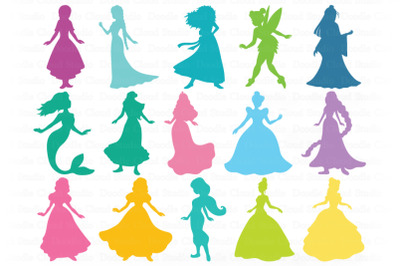 Princess SVG, Princesses Bundle SVG Cut Files.  Princess Clipart.