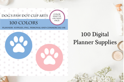 100 Dog's Paw Dot clipart, Vet planner stickers, Dog's Paw clipart