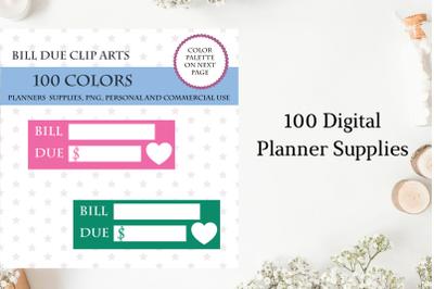 100 Bill Due Clipart, Money planner bright and pastel, Bills planner