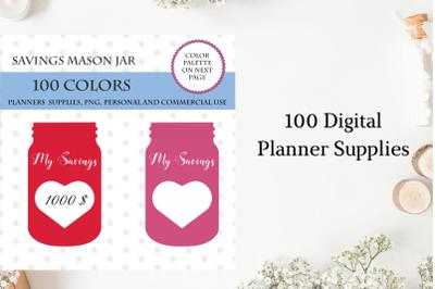 100 Savings Mason Jar clipart, Mason clipart, Jar clip art, Savings icon