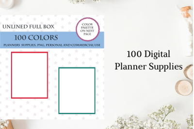 100 unlined full box planner stickers clipart, Full box stickers