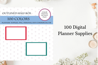 100 Outlined half box planner stickers clipart, Half box stickers