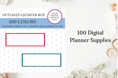100 Outlined quarter box planner stickers clipart, Quarter box stickers