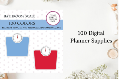 100 Weight Scale Clipart, Bathroom Scale, Bright and pastel scale, Weight Scale