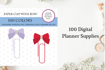 100 Paper Clip With Bow clipart, Paper clipart, Bow clipart, Bright a