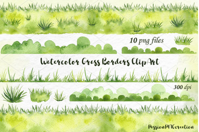 Watercolor Grass Borders Clipart