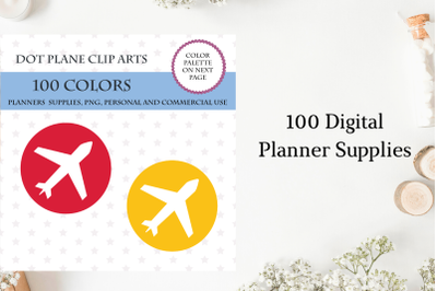 100 Plane Dot clipart, Plane planner stickers, Airport planner bright and pastel