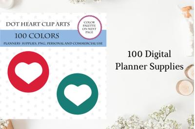 Heart Dot Stickers, Bullet journal stickers, 100 Heart Dot cliparts