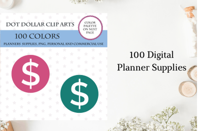 100 Round Dollar Dot clipart, Money planner sticker, Dollar cliparts