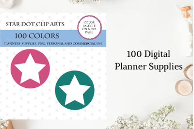 100 Star Round Dot clipart, Star planner sticker, Star clipart brights