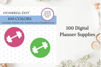 100 Dumbbell Round Dot clipart, Dumbbell planner sticker, Fitness bright and pastel