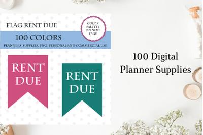 100 Flags Rent Due Clipart, Rent Due Banner art, Bunting clip art