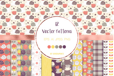 12 Roses and Tea cups Vector Patterns and Seamless Tiles