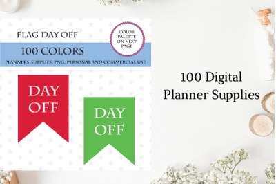 100 Flags Day Off Clipart, Day Off Banner art, Bunting clip art