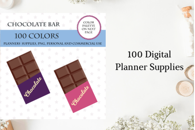 100 Chocolate Bar clipart, Chocolate stickers, Sweetness clipart, Baking planner sticker
