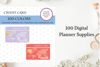 100 Credit Card clipart, Credit Card stickers, Credit Card clip art, Money planner sticker