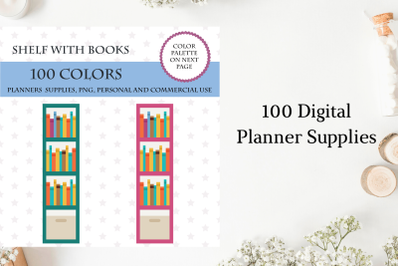 100 Shelf With Books clipart, Books stickers, Reading tracker, Reading now planner sticker