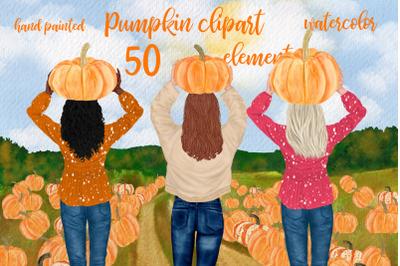 Autumn clipart Girls clipart Pumpkin Patch Pumpkin Png Fall