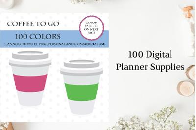 100 Coffee to go clipart, Coffee clipart, Coffee cups, Rainbow coffee
