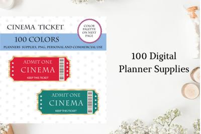 100 Cinema Tickets clipart, Movie time planner, Gold cinema tickets