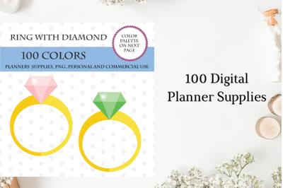 100 Diamond Ring Clip Art, Wedding clipart planner, Engagement clipart