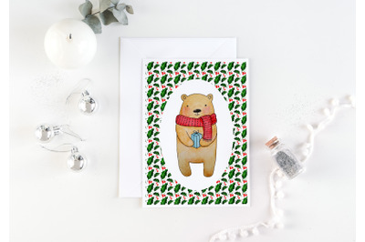 Bear christmas card. Cute teddy bear illustration. 5x7 JPG