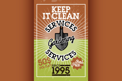 Color vintage gardening services banner