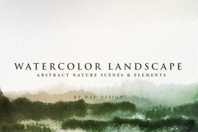 Watercolor Textures - Landcapes  Green
