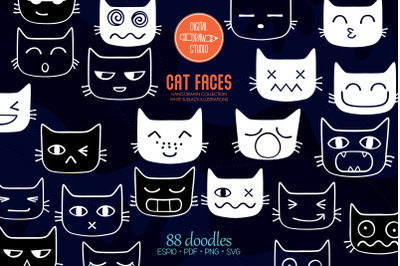 Cat Faces Kawaii   White Hand Drawn Kittens Emoji   Feline Emotions