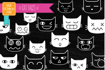 Funny Cat Faces White | Hand Drawn Kawaii Feline Doodles