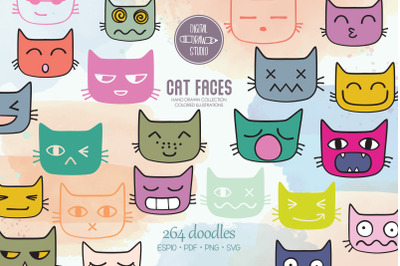 Cat Faces Kawaii   Colored Hand Drawn Kittens Emoji   Feline Emotions