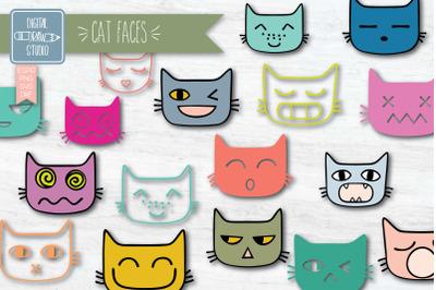 Funny Cat Faces Color | Hand Drawn Kawaii Feline Doodles