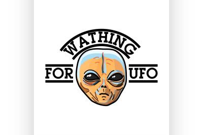 Color vintage UFO emblem