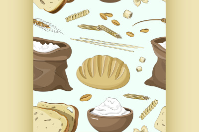 Set of food products from wheat and flour