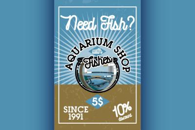 Color vintage aquarium shop banner