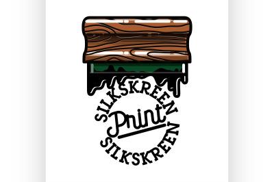 Color vintage silkskreen print emblem
