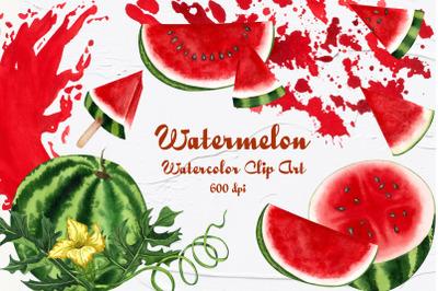 Watermelon Watercolor Clip Art 600dpi