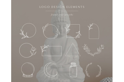 White Logo Elements, Frames and Borders. Spiritual, Astrology. Tattoo.