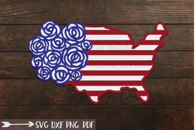 American USA map with roses 4th July laser cut cricut svg