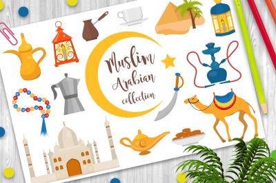 Muslim arabic flat icon set