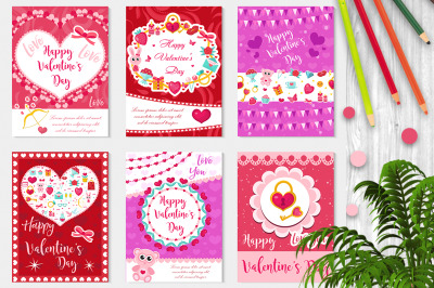 Happy Valentine s Day set poster, invitation, greeting card