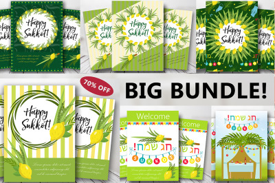 Happy Sukkot set of flyers or posters