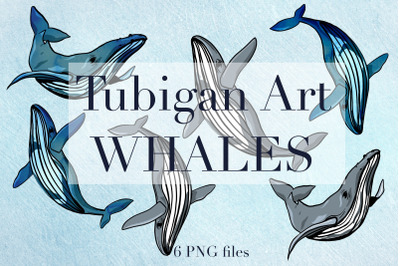 6 Watercolor Whales