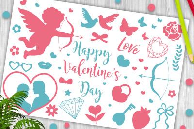 Happy Valentine s Day icon set