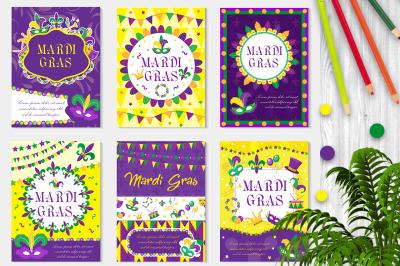 Mardi Gras carnival set poster, invitation, greeting card