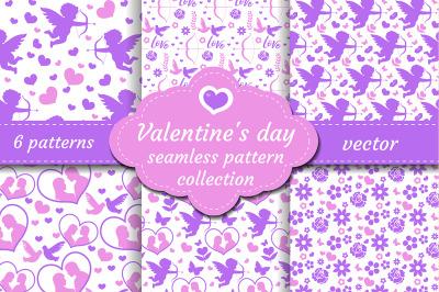 Happy Valentine s Day seamless pattern set.